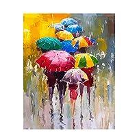 油絵 数字キットによる絵画雨の中を歩く傘デジタル絵画油絵 数字キットによる絵画手塗り DIY絵 デジタル油絵塗り絵 40x50cm (フレームレス)