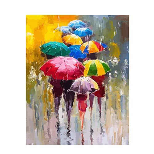 QDDRL Verf Door Getallen 40X50Cm Canvas Diy Olieverfschilderij Voor Kinderen Volwassenen Beginner Met Borstels En Acryl Verf - Paraplu Wandelen In De regen (Zonder Framed)