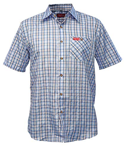 Fifty Five Hemd Herren Kurzarm Andre lightblue karriert L Wanderhemd Funktions Shirt Freizeithemd Kariert