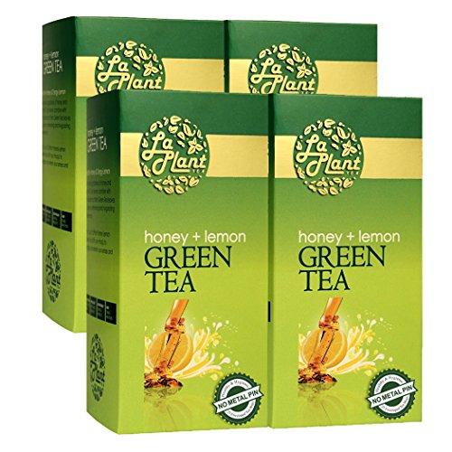 LaPlant Honey & Lemon Green Tea - 100 Tea Bags (Pack of 4)