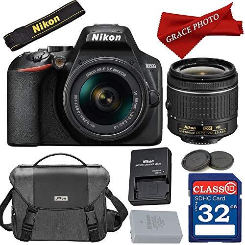 Nikon D3500 DX-Format Digital SLR w/AF-P DX NIKKOR 18-55mm f/3.5-5.6G VR Lens + Nikon Case + Accessory Bundle