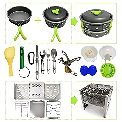 Camping Cookware Kit for 2-4 Person with Camp Stove and Stove Stand - Non-Stick Portable Pots Pans Foldable Stainless Steel Knife Fork Spoon Hiking Gear Camping Cookware Mess Kit Outdoor Camp Stove