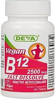 Deva Nutrition Vegan Sublingual Fast Dissolve B-12 Tablets. 2500 mcg. 90 Count