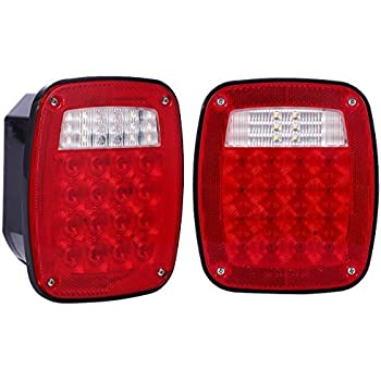 Amazon Com Maxxhaul 80685 Universal Square 12v Combination 38 Led Signal Tail Light For Truck Trailer Boat Jeep Suv Rv Vans Flatbed 2 Pack Regular Automotive