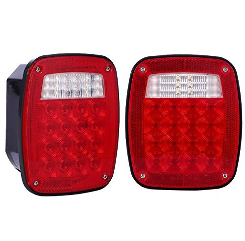 38 LED Jeep style Universal Tail Brake Turn Stop Licence Back up Lights for Truck Trailer Boat Jeep etc,12V Stud Mounted Lamps,Pack of 2