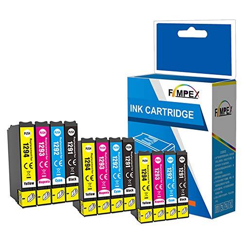 Fimpex kompatibel Tinte Patrone Ersatz für Epson Stylus SX230 SX235W SX420W SX425W SX435W SX440 SX445W SX525WD SX535WD SX620FW Stylus Office B42WD BX305F BX305FW BX320FW (B/C/M/Y, 12-Pack)