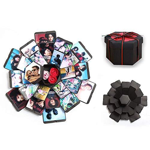QULONG Caja de explosión, álbum de Fotos de Bricolaje Hecho a Mano Creativo Caja de Regalo de álbum de Recortes para Compromiso de Boda Cumpleaños Día de San Valentín Aniversario Madre Familia