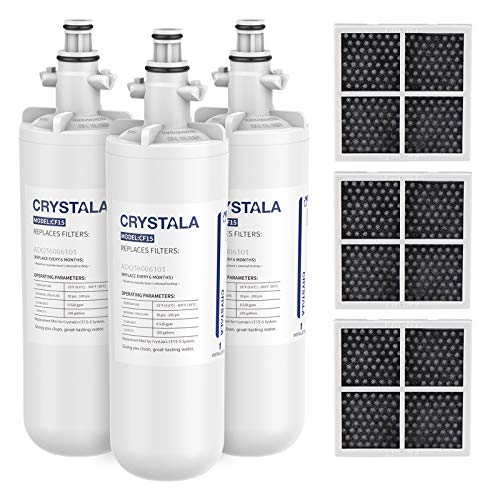 Crystala Filters for LG LT700P Refrigerator Water Filter, Replacement for Kenmore 9690, 46-9690 Water Filter, ADQ36006101, ADQ36006102, RFC 1200A, RWF1200A, LFX28968ST& LT120F Air Filter, 3 Packs
