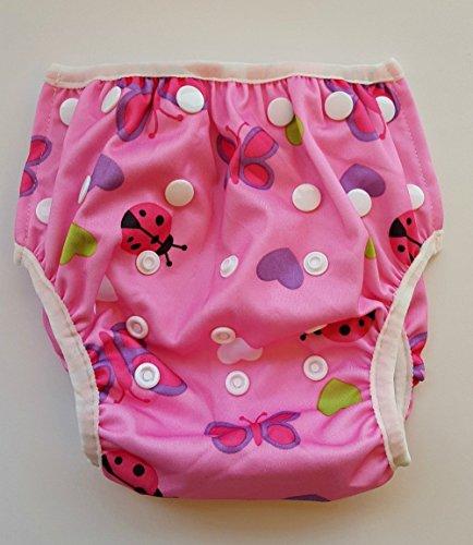 Zwemluier, herbruikbaar en verstelbaar, voor baby's van 0 tot 12 maanden en peuters tot 3 jaar van Eco-Friendly Terra baby. Adjustable: Small, Medium, Large Pink, Schmetterling/Herzen