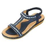 gracosy Sandalias Planas Verano Mujer Estilo Bohemia Zapatos para Mujer de Dedo Sandalias Talla Grande 37-43 Cinta Elástica Casuales de Playa Chanclas Romanas de Mujer Negro Beige 2020
