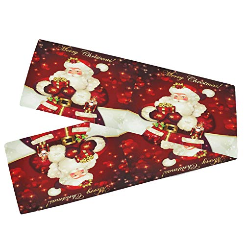 Wamika Merry Christmas Santa Claus Table Runner 13x70 Inch Xmas Snowflake Red Golden Jingle Bell Winter Snow Snowman Long Table Runner Dining Cloth Placemat New Year Home Kitchen Decorations