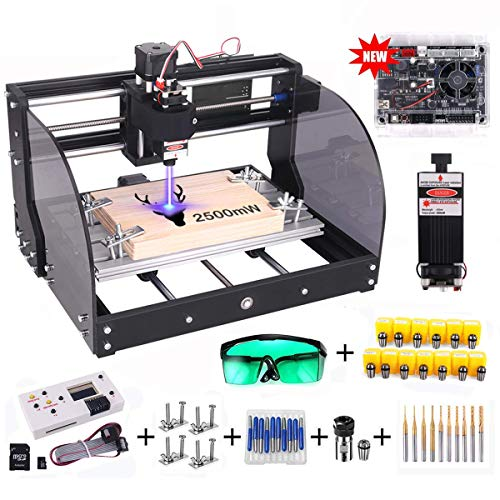 【Upgrade Version】CNC 3018 Pro-M GRBL Control DIY CNC Router Machine, Yofuly 2500mW Laser Engraver 3 Axis PCB PVC Milling Engraving Machine, with Extension Rod | Offline Controller Board (2500mW)