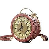 Liuxm Echte funktionierende Uhrentasche, Retro-Umhängetasche, Vintage Steampunk-Kette, weibliche Umhängetasche,3