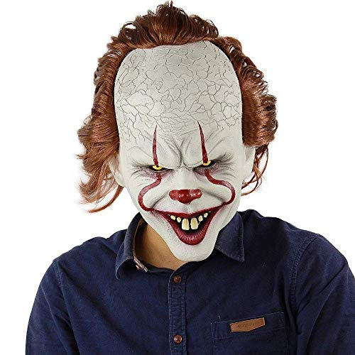 Mjqxy Máscara De Payaso Stephen King'S It Mask Pennywise Horror Clown Joker Máscara Halloween Cosplay Disfraces Atrezzo