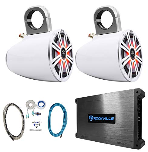 "2 KICKER 8"" White Marine Boat KMTES8 Wakeboard Tower Speakers w/LED's+Amplifier"
