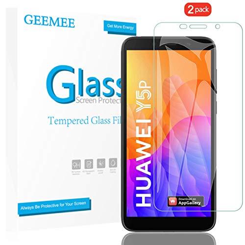 GEEMEE für Huawei Y5P 2020/Huawei Honor 9S/Huawei Y5 2018 Panzerglas Schutzfolie, 2 Stück 9H Filmhärte Gehärtetem Schutzglas Hohe Empfindlichkeit Panzerglas Displayschutzfolie (Transparent)