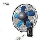 16 Zoll Wand Ventilator mit Fernbedienung, Sicherheits Ventilator für den Zuhause kommerzielle, 7,5-Stunden-Timer, Schlafwind, 5 Flügel, 60 W, schwarz