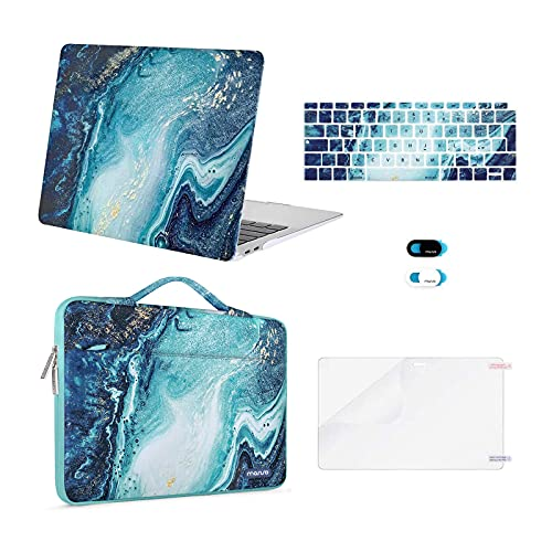 MOSISO Compatibile con MacBook Air 13 Case 2020-2018 A2337 M1 A2179 A1932 Retina, Creative Wave Marmo Custodia Rigida in Plastica&Borsa a Manica&Tastiera Skin&Copertura Webcam&Proteggi Schermo, Blu