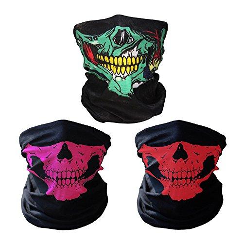 iMixCity 2 Stück Premium Sturmmaske Totenkopf Skull Maske Multifunktionstuch Schlauch Nahtlos Schädel Sturmmaske Ghost für Motorrad Fahrrad Ski Paintball Gamer Karneval Kostüm (C# 3PCS)