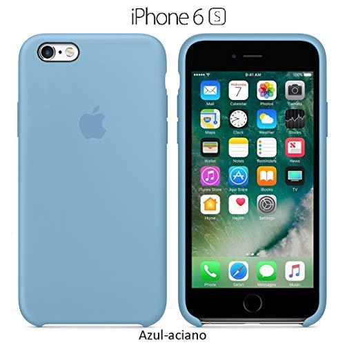 Funda Silicona para iPhone 6 y 6s Silicone Case, Logo Manzana, Textura Suave, Forro Microfibra (Azul-Aciano)