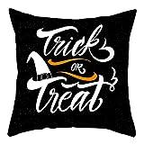 RK-HYTQWR Happy Halloween Sofa Throw Pillow Case Cartoon Death Ghost Pumpkin Funda de cojín, 3 Fundas de Almohada de impresión Digital, 3