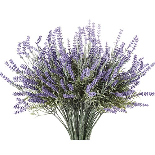 8 Bundle Artificial Flower Purple Lavender Bouquet with Green Leaves