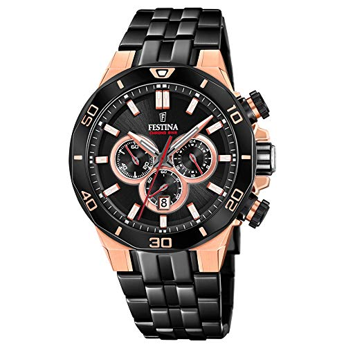 Festina Unisex Erwachsene Chronograph Quarz Uhr mit Edelstahl Armband F20451/1