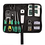 Vhoro 9 in 1 Network Tool Kit Professional, Cat6 Cat5e Rj45 Crimp Tool, 8P8C RJ45 Connectors, Cable Tester, 2 Pack Screwdriver, Stripping Pliers Tool Set