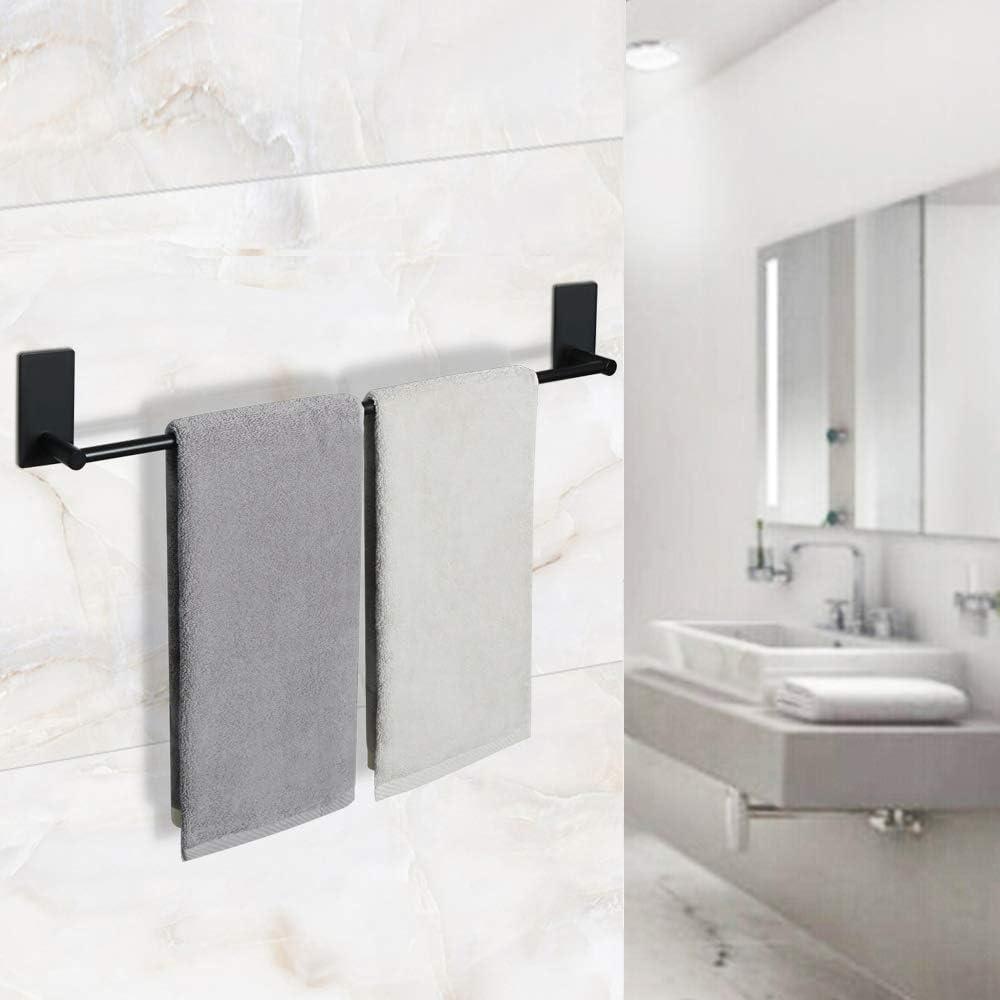 barra individual de 55,8 cm no requiere perforaci/ón acabado negro SUS 304 EGWLD055-B Sayayo Toallero autoadhesivo para toallero toallero de ba/ño