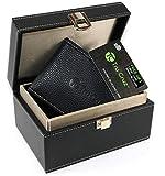 Keyless Go Boîte Protection Tru Cruz Cage de Faraday Car Key Coffre-Fort Boîte à clés de Voiture RFID Blocker Antivol Bloque Signal RFID Cas de bloqueur de signal Cuir PU Noir et Porte Carte Anti RFID