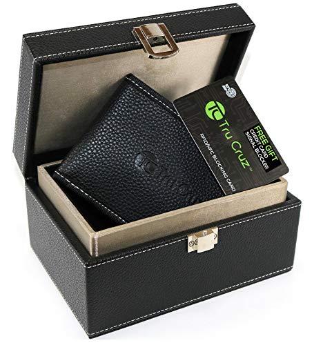 Tru Cruz Caja de Faraday para Llaves del Coche y Bolsa bloqueadora de señales Caja de Almacenamiento de Llaves del Coche de Entrada sin Llave Grande Negro Piel PU Bono Tarjeta RFID