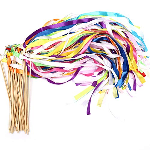 40 Pack Ribbon Wands - MeiMeiDa Mix Color Ribbon Fairy Wands with Bell and Smooth Wood Sticks, Chromatic Silk Waving Party Streamers for Wedding Best Wishes, Kids Birthday Props, Dance Party Favors