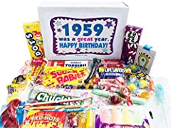 FUN VARIETY OF CANDIES INCLUDED: 30 different types of old fashioned candy from yesteryear 1959 BIRTHDAY GIFTS FOR WOMEN AND MEN: Surprise your friends and family with a candy mix of long forgotten sweets from their childhood, a one of a kind birthda...