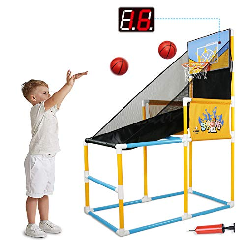 PBOHUZ Indoor Basketball Arcade Game for Kids - Electronic Scoreboard Basketball Hoop, Shooting Training System Set with 2 Balls and Pump, Basketball Sports Toys for Boys Girls