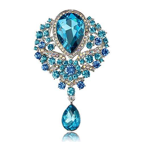 Novia de la Boda del Rhinestone cristalino de la Vendimia Plateado Broche (Color : Lake Blue)