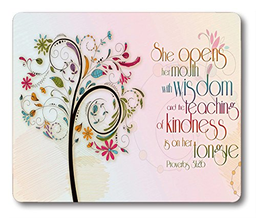 Smooffly Inspirational Christian Bible Verse Proberbs Quotes Mouse Pad, She Opens Her Mouth with Wisdom and The Teaching of Kindness is on Her Tongue Mouse pad 9.5'X7.9'Inch