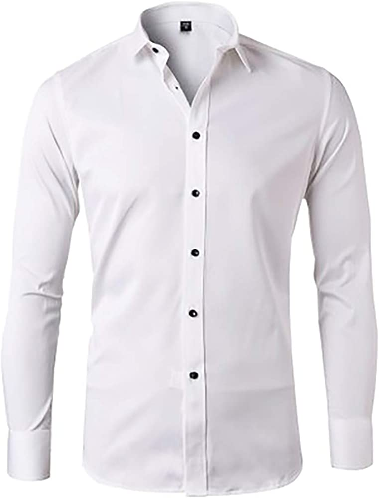 Men's Dress Shirt Slim Fit Solid Spread Collar Black Button
