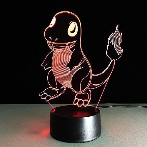 3D Nachtlampje Cartoon Kleine Draak LED Illusie Lamp met Afstandsbediening Nachtlampje 7 Kleur Veranderende Tafellamp met USB Opladen Gift voor jongen Meisje Verjaardag, Slaapkamer Nachtlampje Decoratie