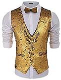 COOFANDY Men's Fashion Shiny Sequins Vests Halloween Christmas Slim Fit Stitching Vest(Gold Yellow, L)