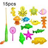 FEK Creativo 15 Piezas Juguete de Pesca magnética Bebé Baño de Juguete Pesca Aprendizaje Educación Juego de Juego (Piscina no incluida)