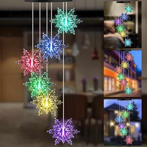 GLKEBY LED Solar Wind Glockenspiel, Lichtsteuerung Regensichere Farbwechsel Gartenlampe, Romantische Windspiel Lampe Mit Haken Für Hängelampe Dekoration Von Terrasse/Gartenparty/Baum