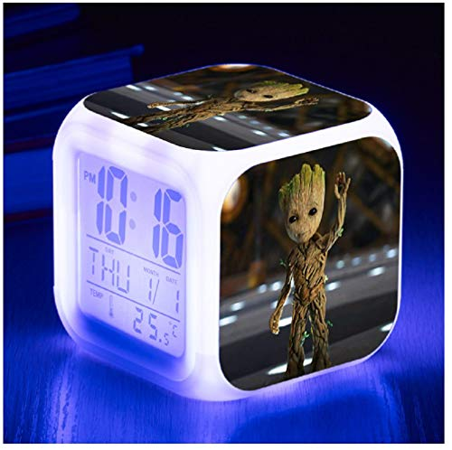 WKZZ LED-Wecker, Film-Rolle, Baby-Groot-beleuchtet, quadratisch, Kunststoff, Kalender, Wecker, Wecker, mit Dimmer und LCD-Display für Schlafzimmer