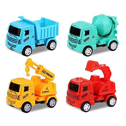 Sylanda Baby Spielzeugauto für Kleinkinder im Alter von 1, 2, 3 Jahren Jungen, 4 in 1 Satz - Excavator, Forklift, Dumper, Mixer für Kleinkinder Spielzeug Auto Kit Baufahrzeuge Kinder Spielzeug