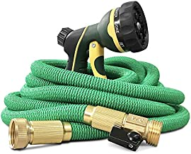 NGreen Expandable and Flexible Garden Hose - 25/50/75/100 Feet Strongest Triple Core Latex and Solid Brass Fittings Free Spray Nozzle 3/4 USA Standard Easy Storage Kink Free Water Hose (25FT)