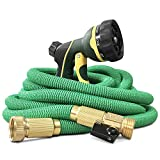 NGreen Expandable and Flexible Garden Hose - 25/50/75/100 Feet Strongest Triple Core Latex and Solid Brass Fittings Free Spray Nozzle 3/4 USA Standard Easy Storage Kink Free Water Hose (75 FT)