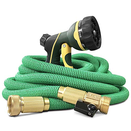 NGreen Expandable and Flexible Garden Hose - Strength Durable Fabric and 13-Layer Latex Inner Tube, Leakproof Solid Brass Fittings with Nozzle, Lightweight Easy Storage Kink Free Water Hose (25 FT)