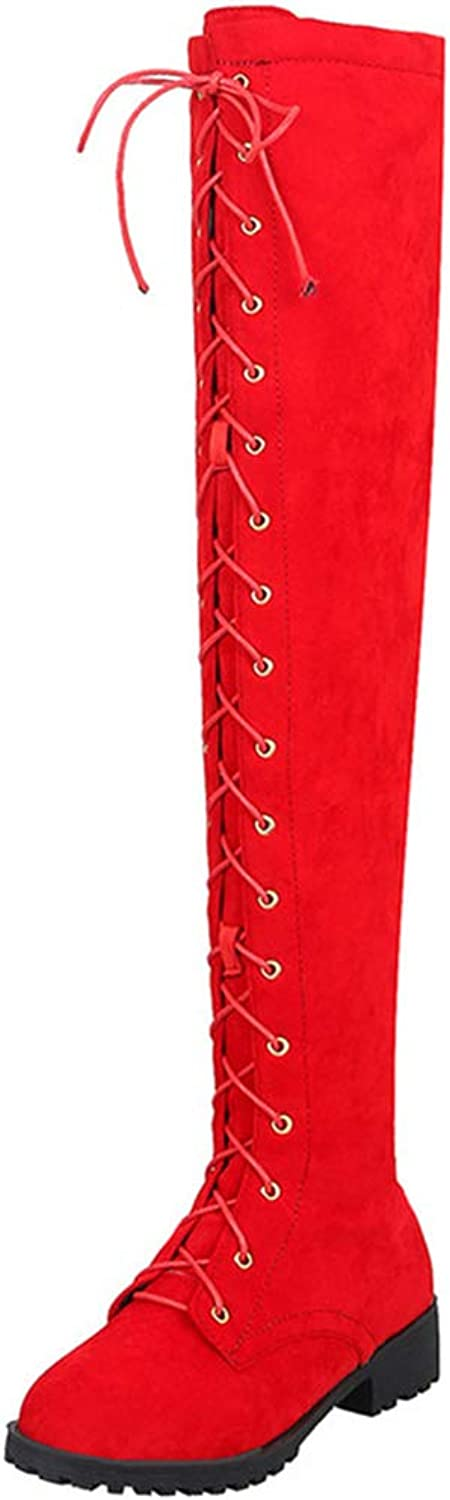 Vitalo Womens Combat Low Heel Thigh High Lace Up Over The Knee Riding Boots