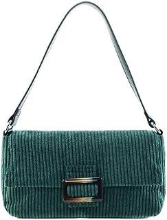 Ulisty Damen Klein Cord Retro Schultertasche Beiläufig Quadratische Tasche Handtasche Grün
