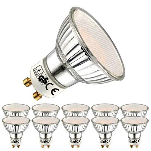 EACLL GU10 LED Warmweiss 5W Leuchtmittel 2700K 450 Lumen Glühbirnen perfekter Ersetzen 50W Halogen Lampen. Lichtwinkel 120 Grad Warmweiß Licht Tageslichtweiß Birnen, 10 Pack