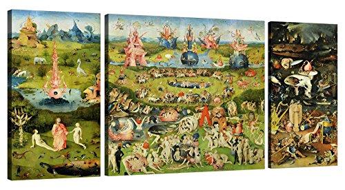 LuxHomeDecor Wandbild, Darstellung Hieronymus Bosch, Der Garten der Lüste, Maße 140 x 70 cm, Druck auf Leinwand mit Rahmen aus Holz